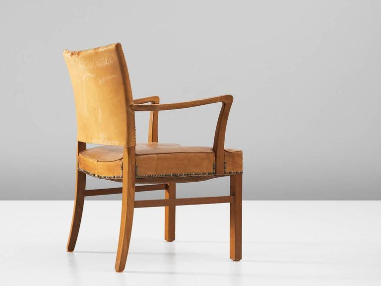 Mid-Century Modern Scandinavian Oak Armchair with Cognac Leather Upholstery