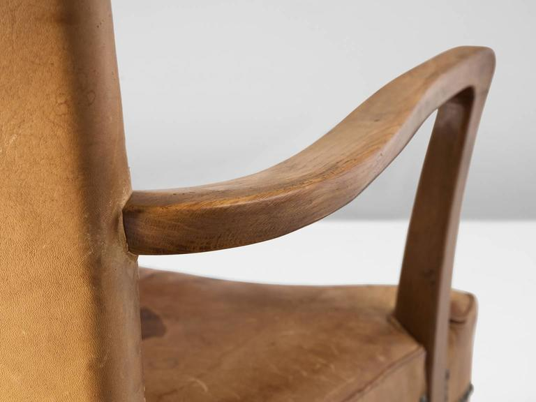 Mid-20th Century Scandinavian Oak Armchair with Cognac Leather Upholstery