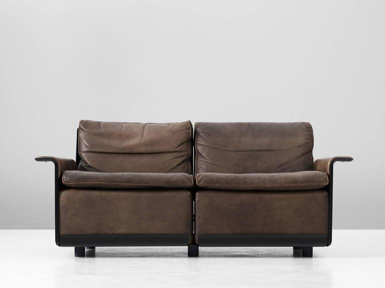 dieter rams 39 620 39 sofa in patinated brown leather for vitsoe for sale at 1stdibs. Black Bedroom Furniture Sets. Home Design Ideas
