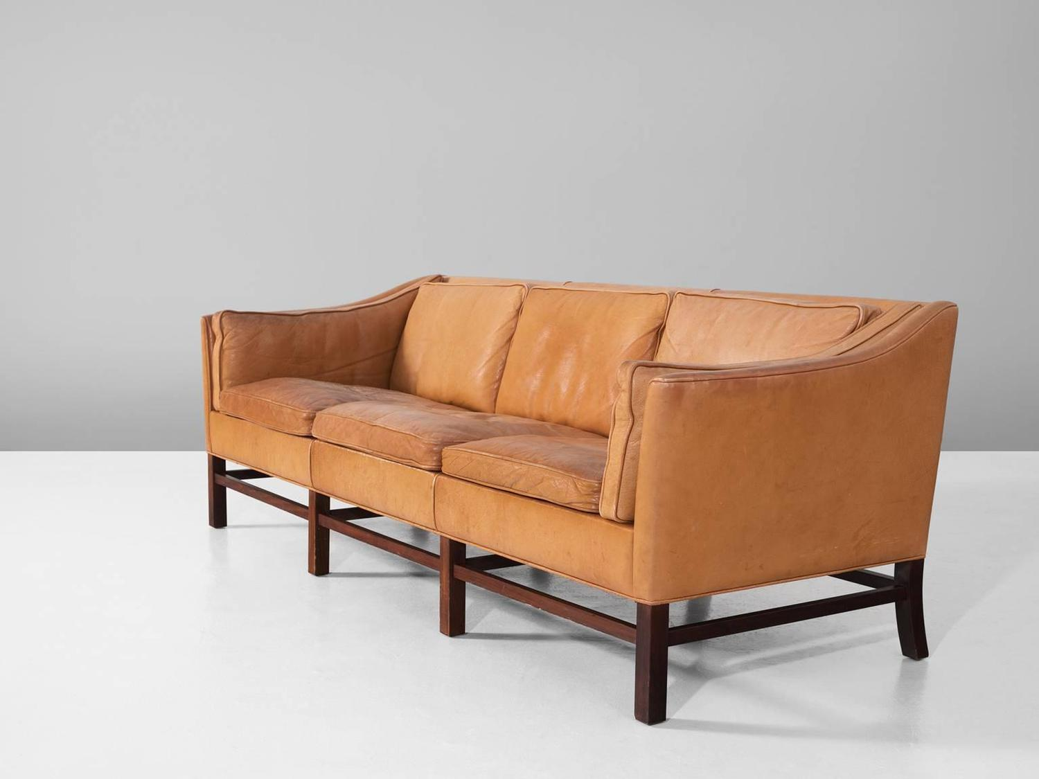Scandinavian Modern Sofa In Natural Leather For Sale At