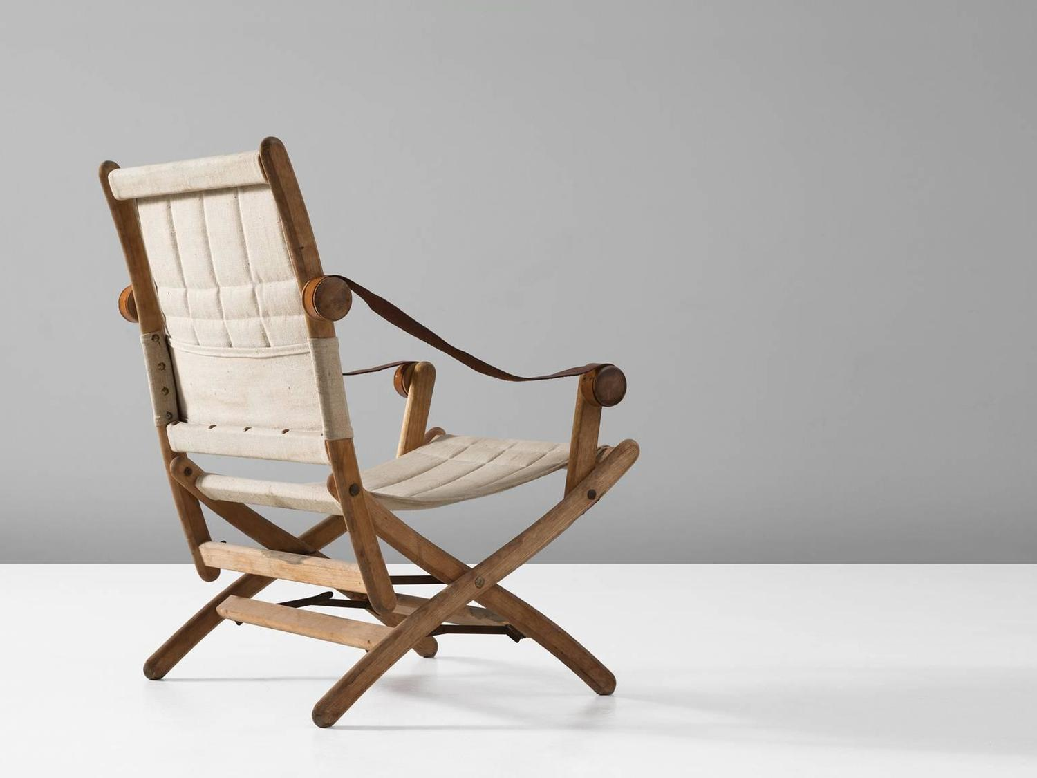 Scandinavian Safari Folding Chair in Beech and Canvas Upholstery For Sale at