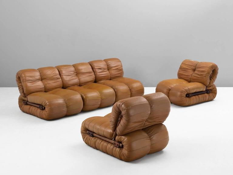 Modular Sofa, In Leather And Rosewood, By Percival Lafer, Brazil, 1960s.