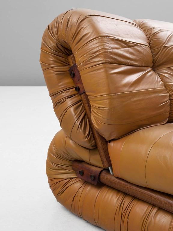 Percival Lafer Modular Sofa in Rosewood and Cognac Leather For Sale at 1stdibs