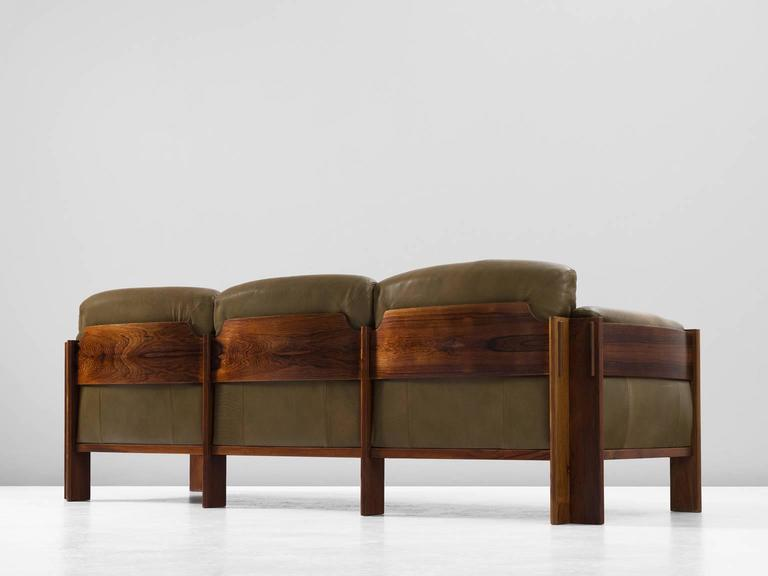Scandinavian Rosewood Sofa With Green Leather Upholstery