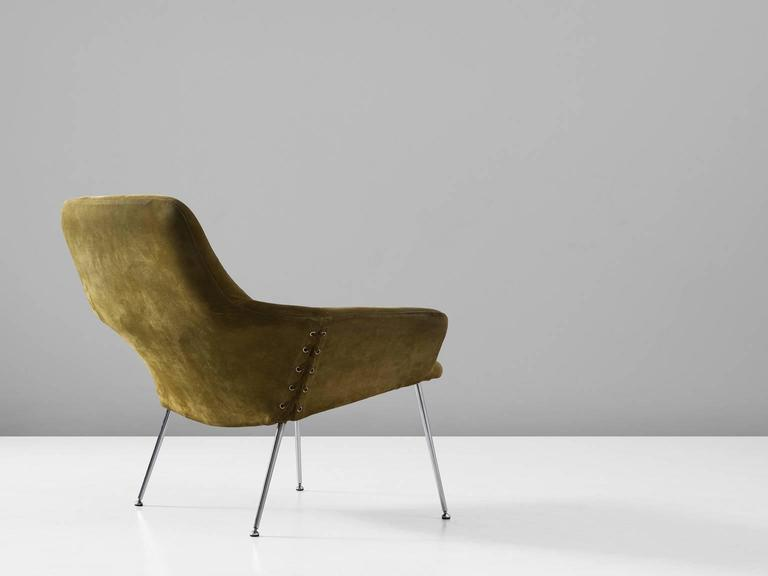 Poul Nørreklit Olive Green Suede Easy Chair For Sale At 1stdibs