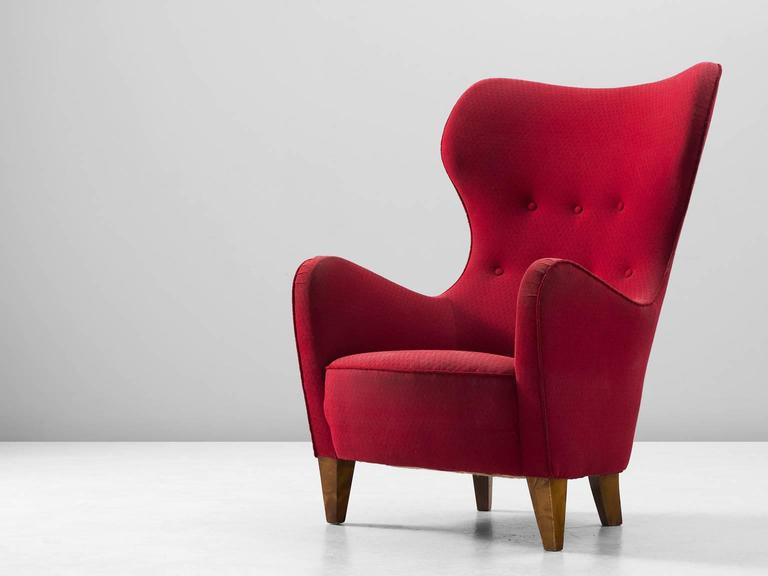 Scandinavian Wingback Chair In Red Fabric Upholstery For Sale At 1stdibs