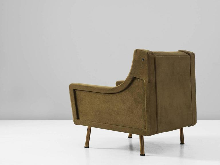 Italian Lounge Chair In Olive-Green Upholstery For Sale At 1stdibs