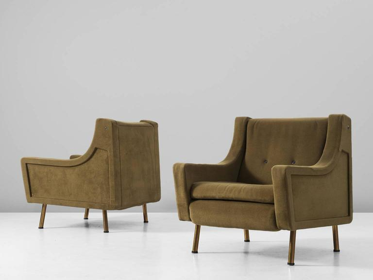 Set Of Two Italian Lounge Chairs In Olive Green Upholstery For Sale At 1stdibs