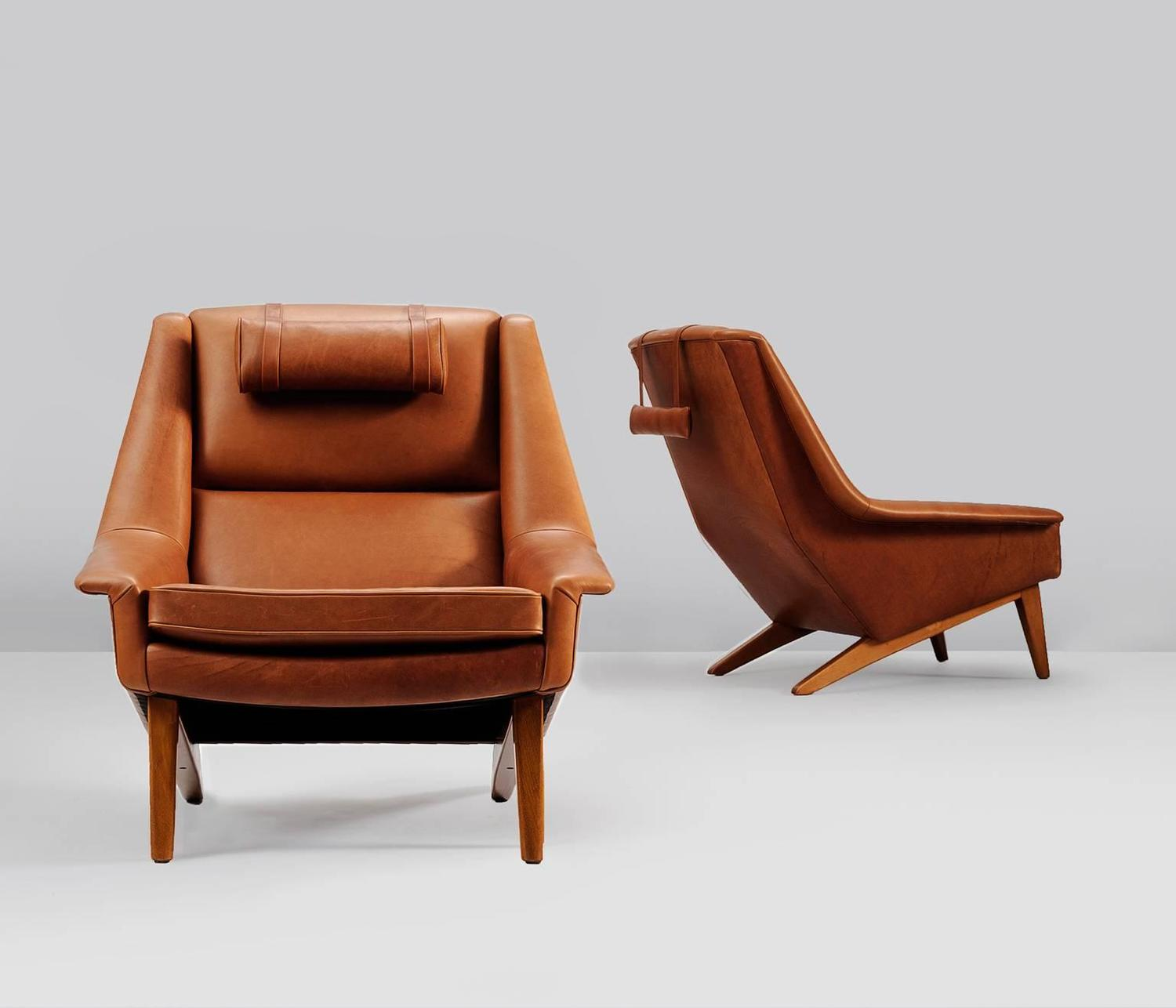 Set of two danish reupholstered lounge chairs in cognac for Reupholstered chairs for sale