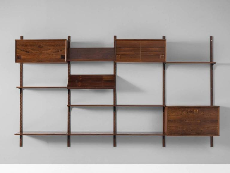 Wall Unit, In Rosewood And Metal, By Albert Hansen, Denmark, 1950s.