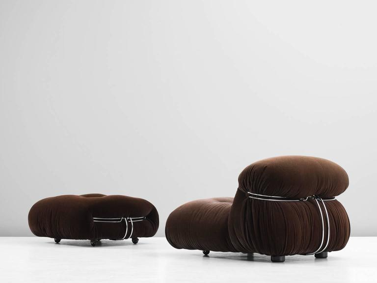 Mid-Century Modern Afra & Tobia Scarpa 'Soriana' Lounge Chair and Ottoman For Sale