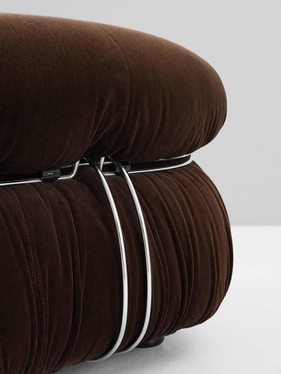 Fabric Afra & Tobia Scarpa 'Soriana' Lounge Chair and Ottoman For Sale