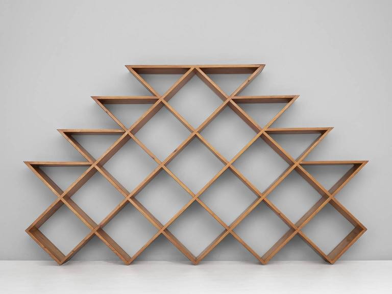 Mid-Century Modern Mid-Century Graphical Wall Unit in Pine For Sale