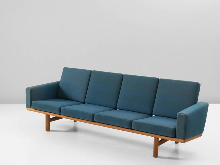 Hans Wegner Sofa In Oak And Petrol Upholstery For Getama For Sale At