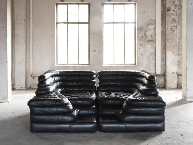 Mid-Century Modern Pair of Two De Sede 'Terrazza' Landscapes in Black Leather