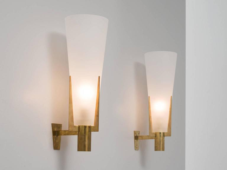 Etched Glass Wall Lights : Set of Two Large Brass and Frosted Glass Wall Lights For Sale at 1stdibs