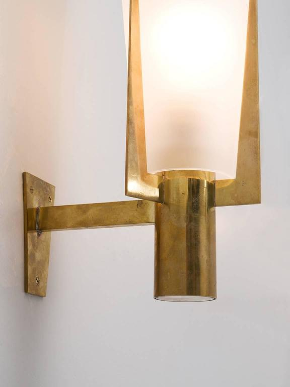 Large Glass Wall Lights : Set of Two Large Brass and Frosted Glass Wall Lights For Sale at 1stdibs