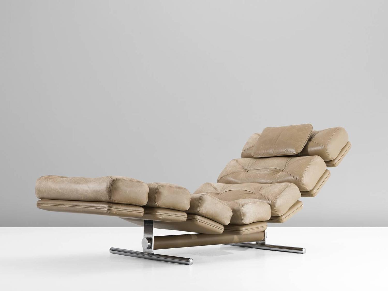 Chaise longue for gervan belgium in original leather for Chaise longue leather