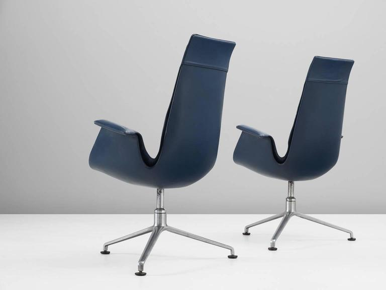 Mid-Century Modern Fabricius & Kastholm Set of Two Blue Leather Tulip Chairs For Sale