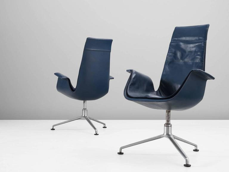 Set of two bird chairs, model FK 6725, in leather and steel, by Preben Fabricius and Jørgen Kastholm, produced by Kill International, Denmark, 1966.  Wonderful set of two blue 'Bird chairs' by designer duo Fabricius & Kastholm. Due the fiberglass