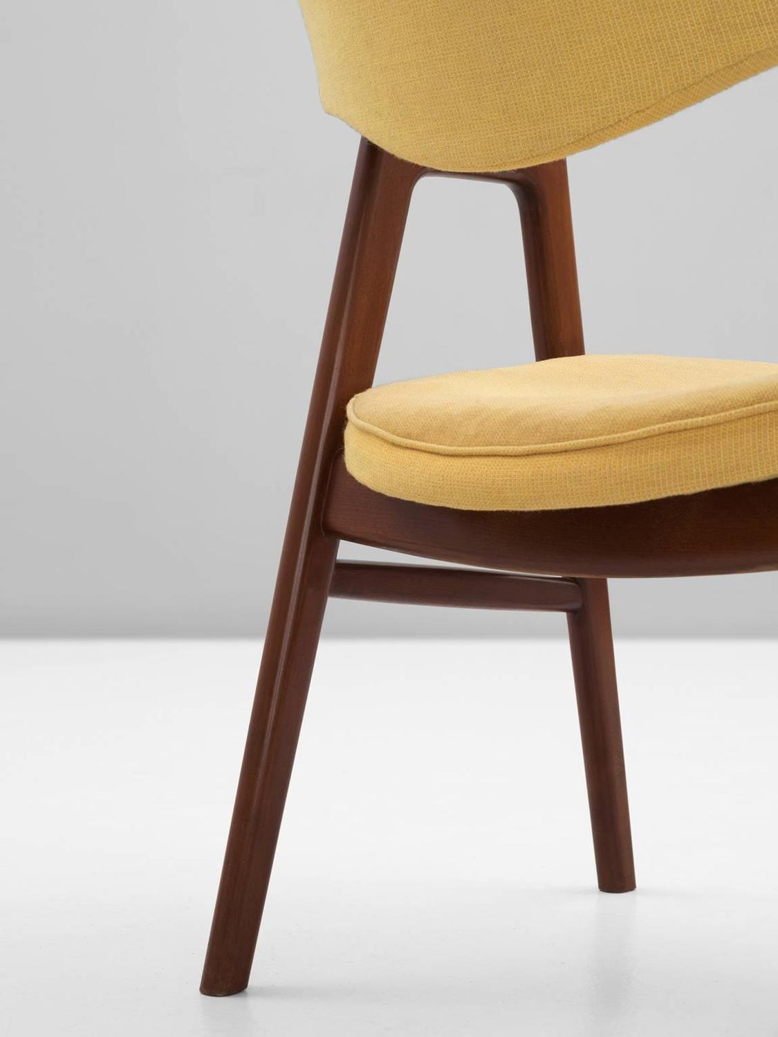 Erik Kirkegaard Set of 12 Dining Chairs with Yellow Fabric ...