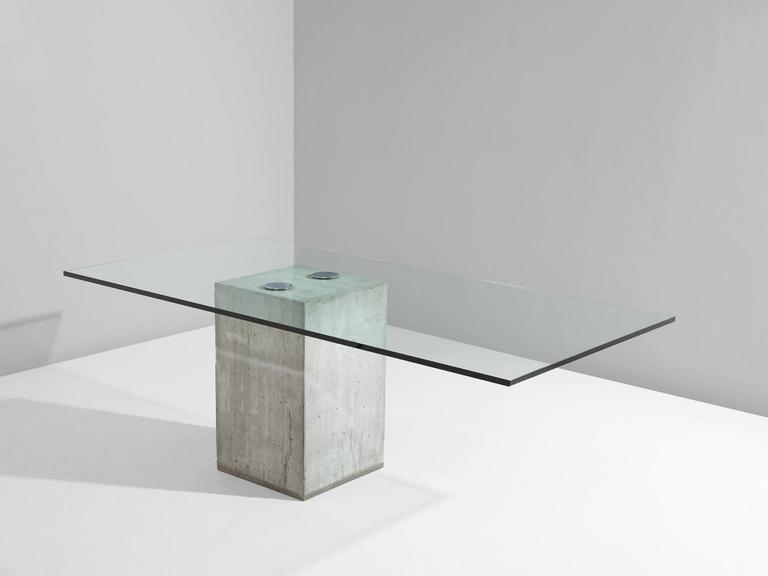 Sergio And Giorgio Saporiti Glass And Concrete Dining Table For Sale - Concrete and metal dining table