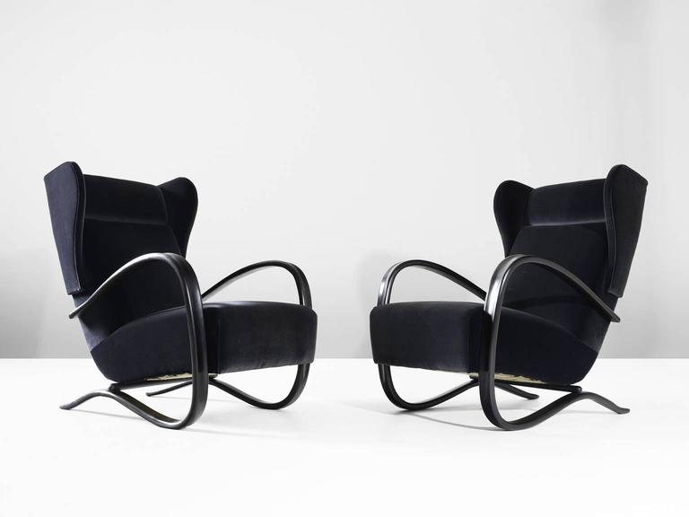 Art Deco Jindrich Halabala Pair of Reupholstered Wingback Lounge Chairs For Sale
