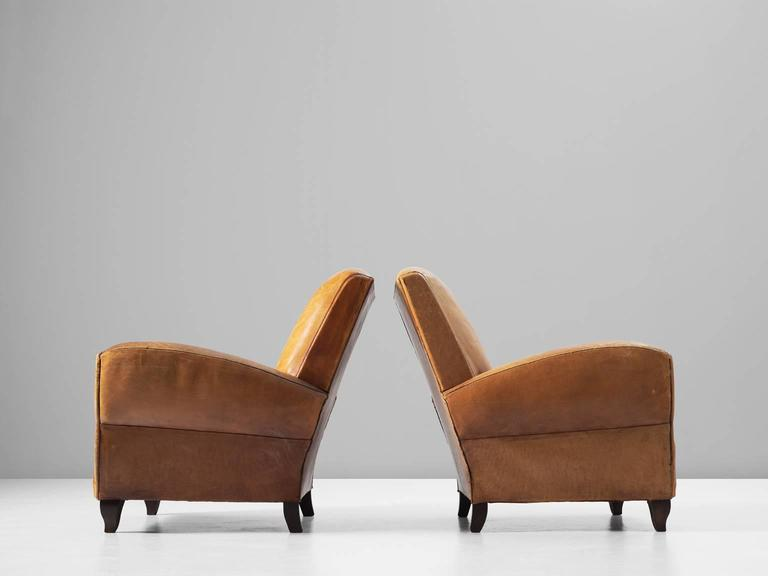 Set of Two Art Deco Club Chairs with Patinated Leather 5