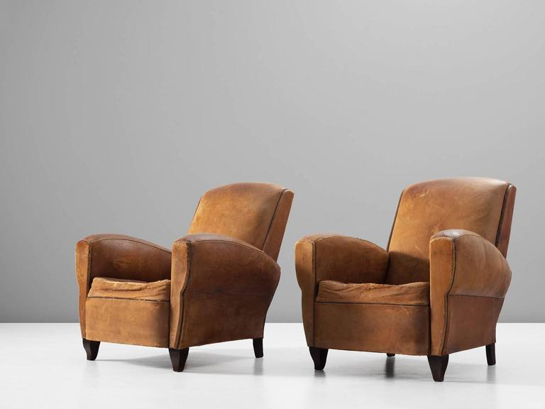 Set of Two Art Deco Club Chairs with Patinated Leather 3