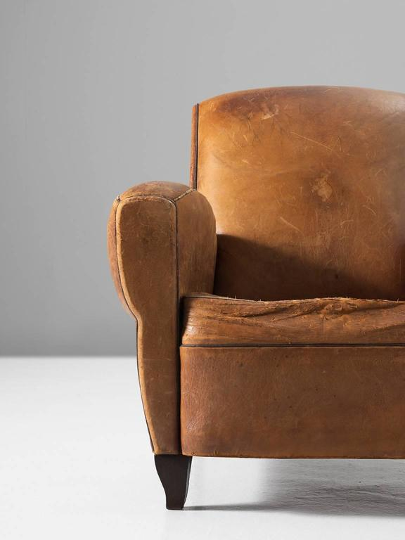 Set of Two Art Deco Club Chairs with Patinated Leather 6