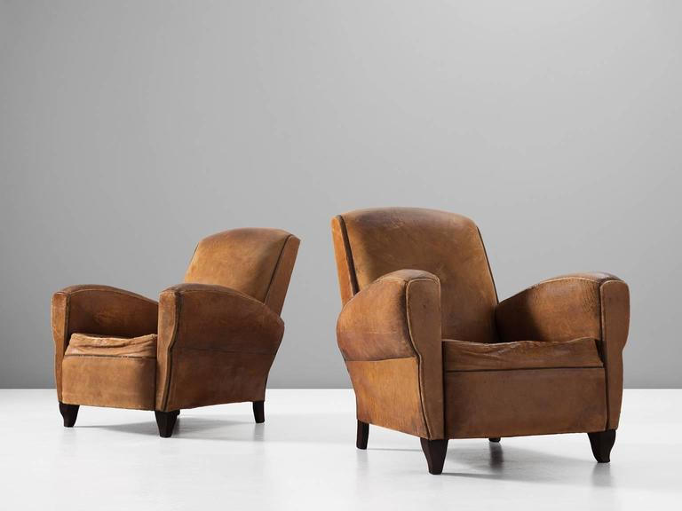 Set of Two Art Deco Club Chairs with Patinated Leather 2