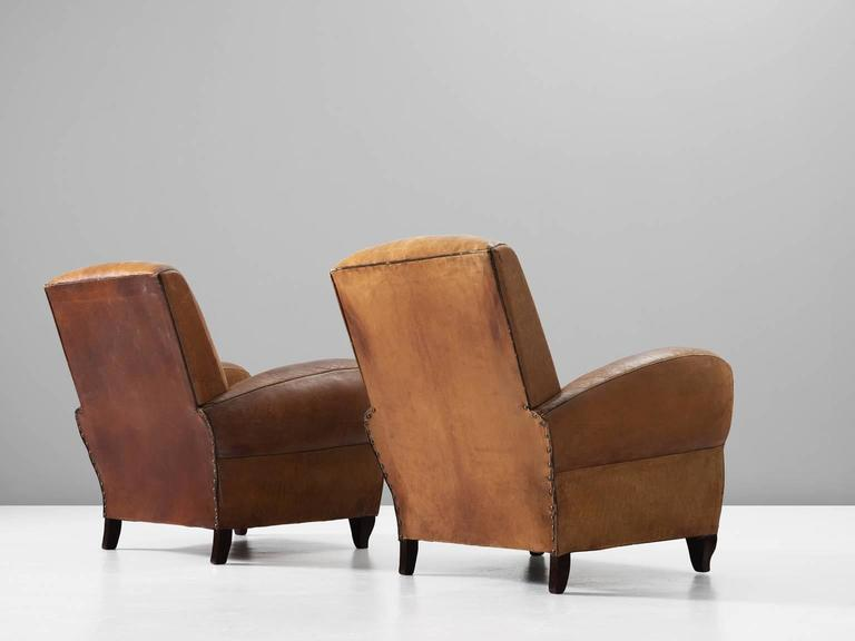 Set of Two Art Deco Club Chairs with Patinated Leather 4