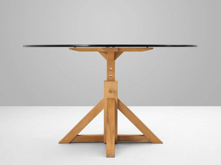 Pedestal Dining Table With Height Adjustable Wooden Base