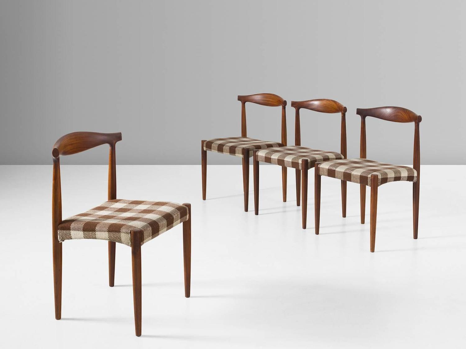 Set of four danish dining room chairs in rosewood for sale for Danish dining room chairs