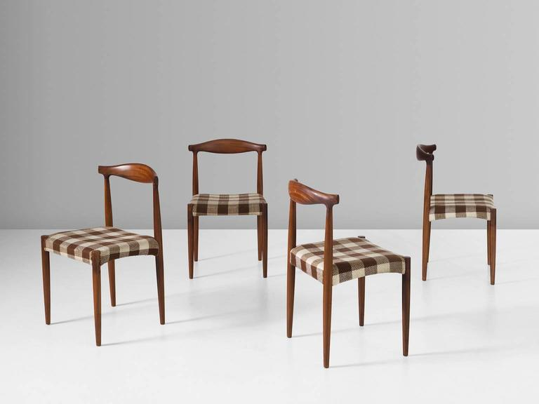 Set of four dining chairs, in rosewood and fabric, for Vamo Møbelfabrik, Denmark 1950s. 