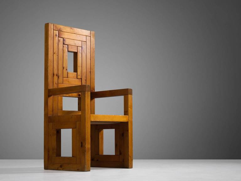Armchair, pine, Italy, 1950s, attributed to Uranus Palma.  Sculptural armchair with graphical patterns in patinated pinewood. Back and seating are composed of gradual sorted slats, combined into a beautiful graphic pattern. The openings of the