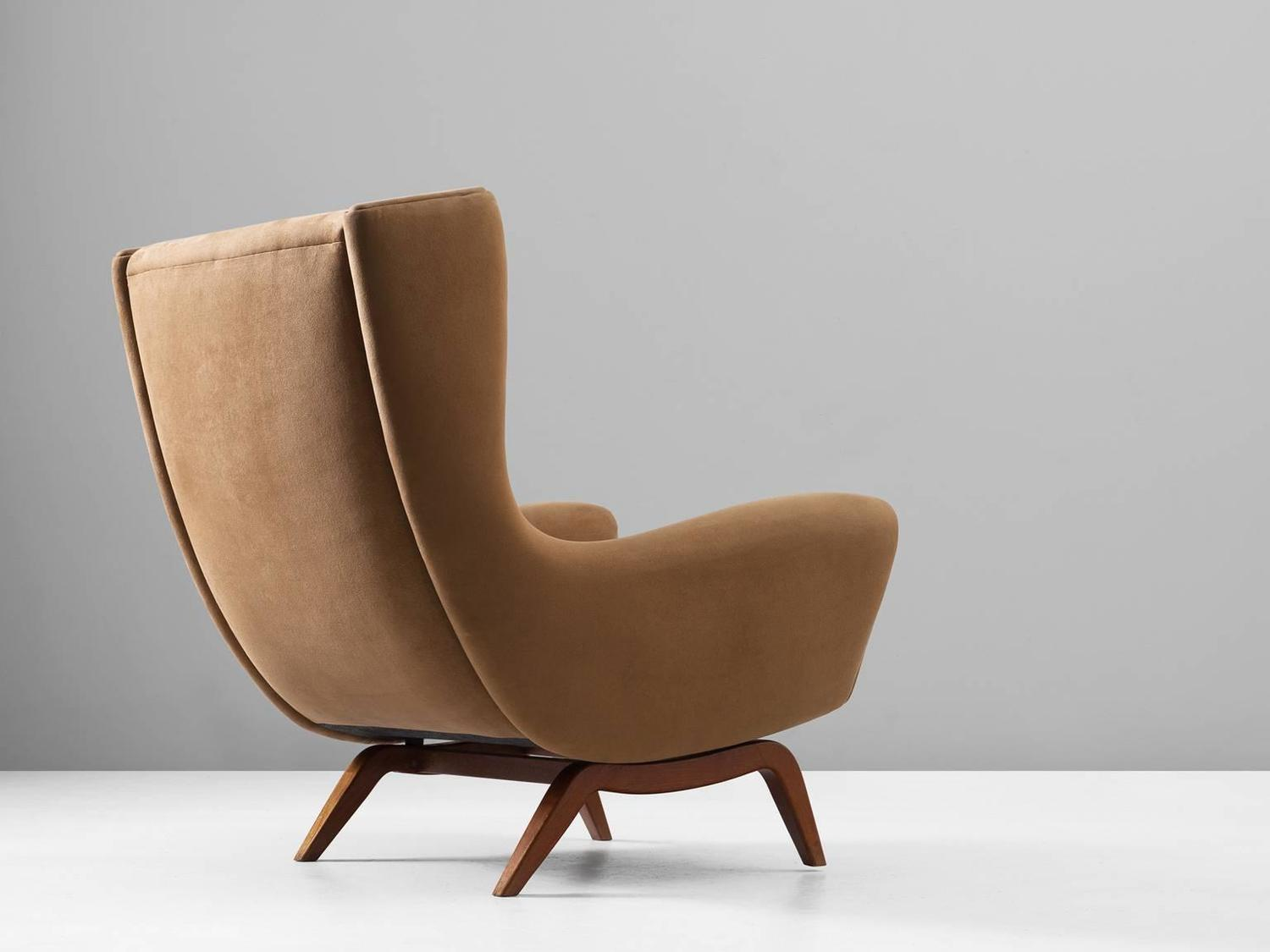 Illum Wikkels 248 110 Lounge Chair In Teak And Liver