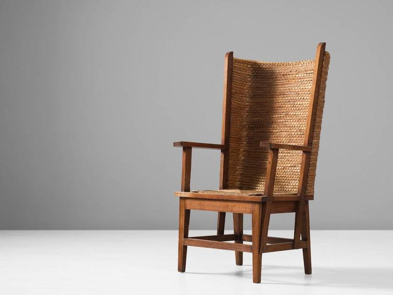 Armchair, in oak and straw, Scotland, 1940s. Orkney armchair with woven high - Scottish Orkney Chair With Woven Back And Oak Frame For Sale At 1stdibs