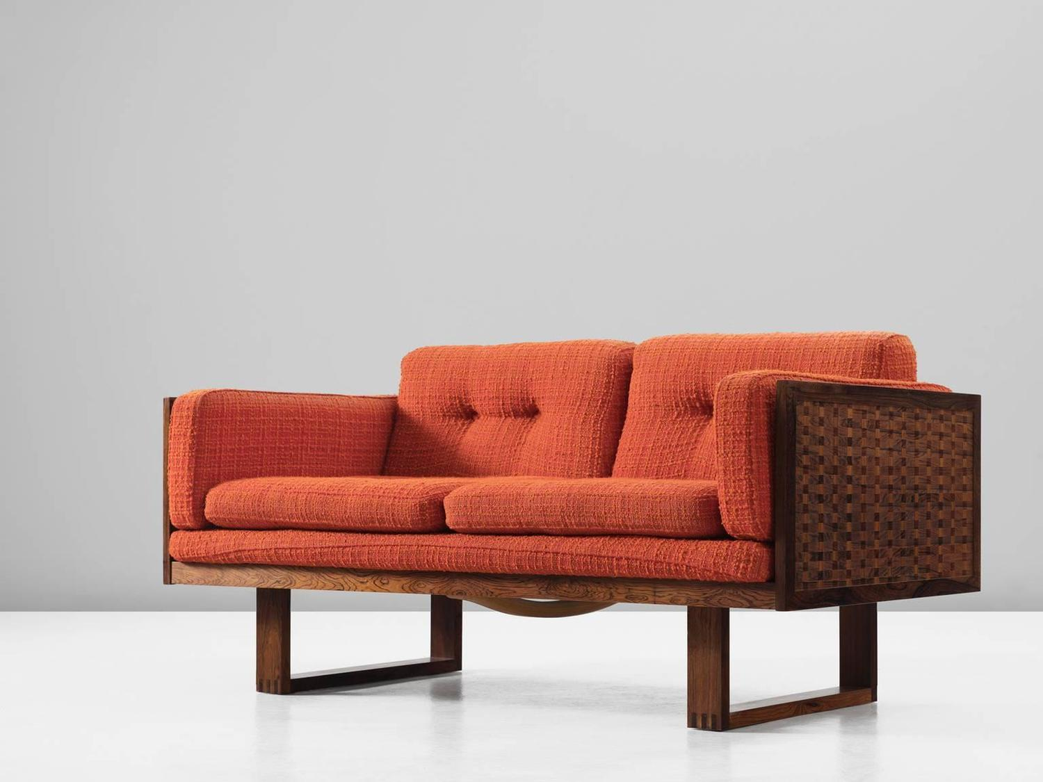 Poul Cadovius Small Rosewood Sofa In Orange Fabric