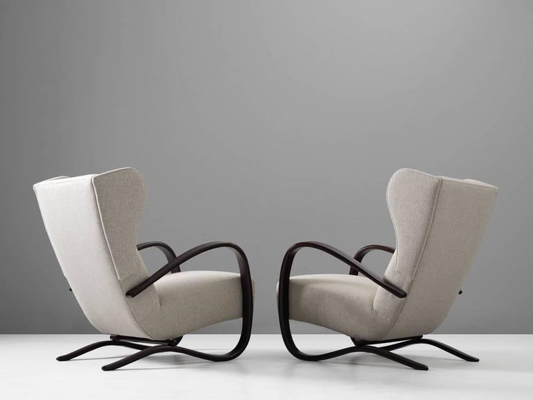 Czech Jindrich Halabala Pair of Reupholstered Wingback Lounge Chairs For Sale