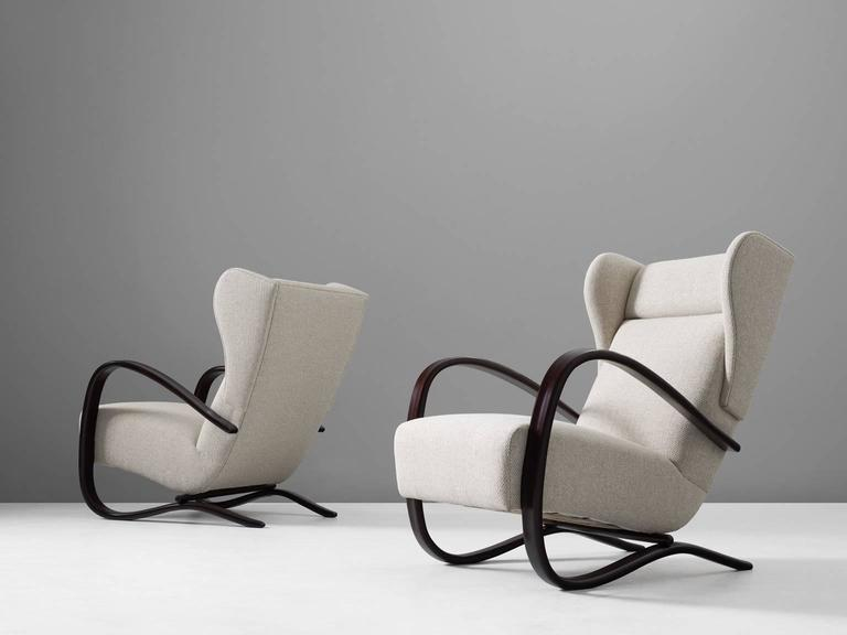 Modern Jindrich Halabala Pair of Reupholstered Wingback Lounge Chairs For Sale