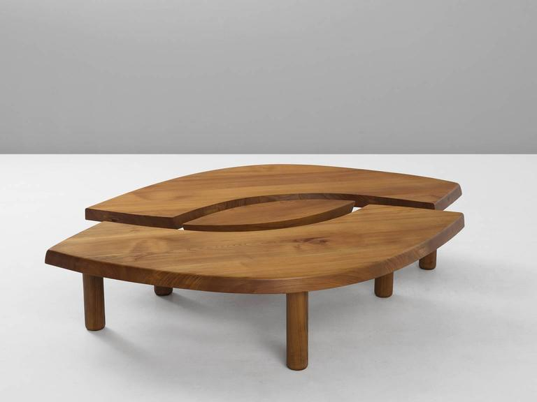 Pierre Chapo T22 Eye Shaped Coffee Table In Solid Elm At 1stdibs