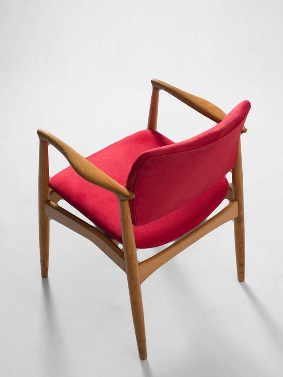 Erik Buck Set of Six 'Captains' Armchairs in Oak and Red Fabric Upholstery For Sale 3