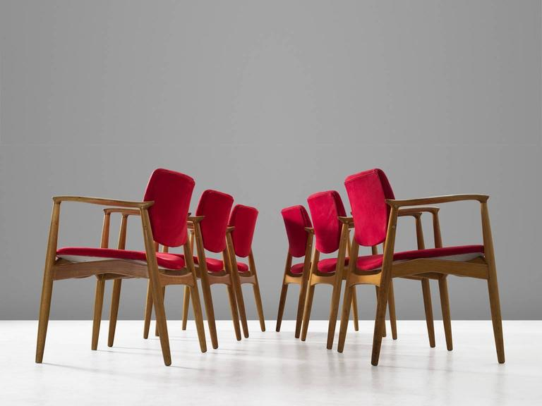 Danish Erik Buck Set of Six 'Captains' Armchairs in Oak and Red Fabric Upholstery For Sale