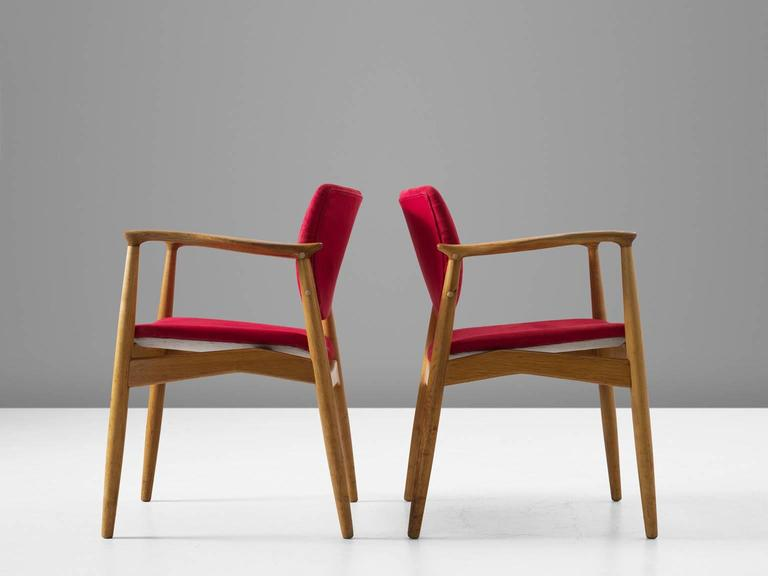 Mid-20th Century Erik Buck Set of Six 'Captains' Armchairs in Oak and Red Fabric Upholstery For Sale
