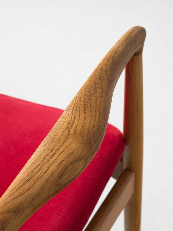 Erik Buck Set of Six 'Captains' Armchairs in Oak and Red Fabric Upholstery For Sale 2