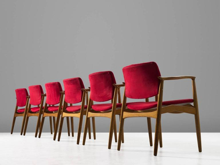Mid-Century Modern Erik Buck Set of Six 'Captains' Armchairs in Oak and Red Fabric Upholstery For Sale