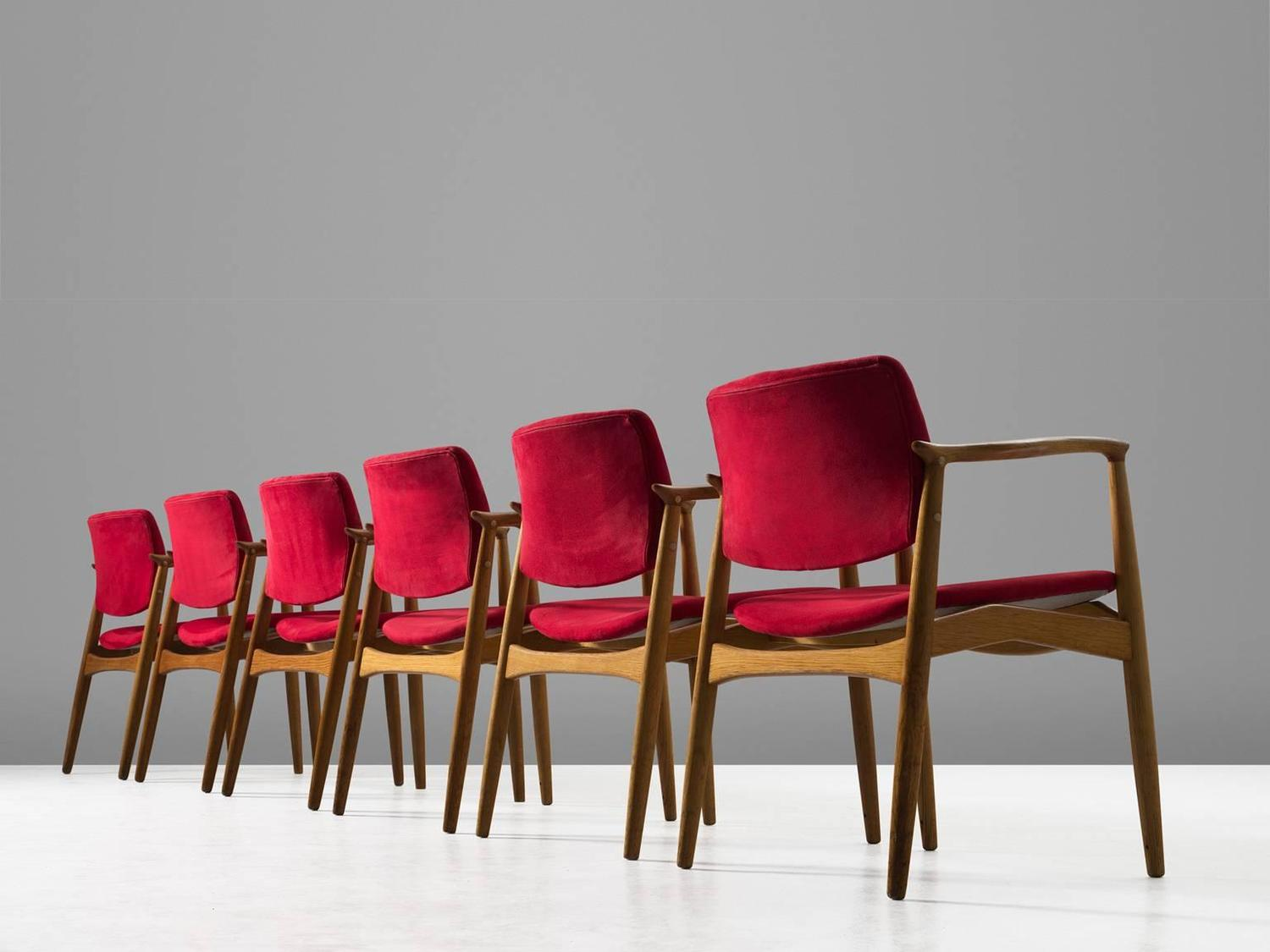 Erik Buck Set Of Six 39 Captains 39 Armchairs In Oak And Red Fabric Uphol