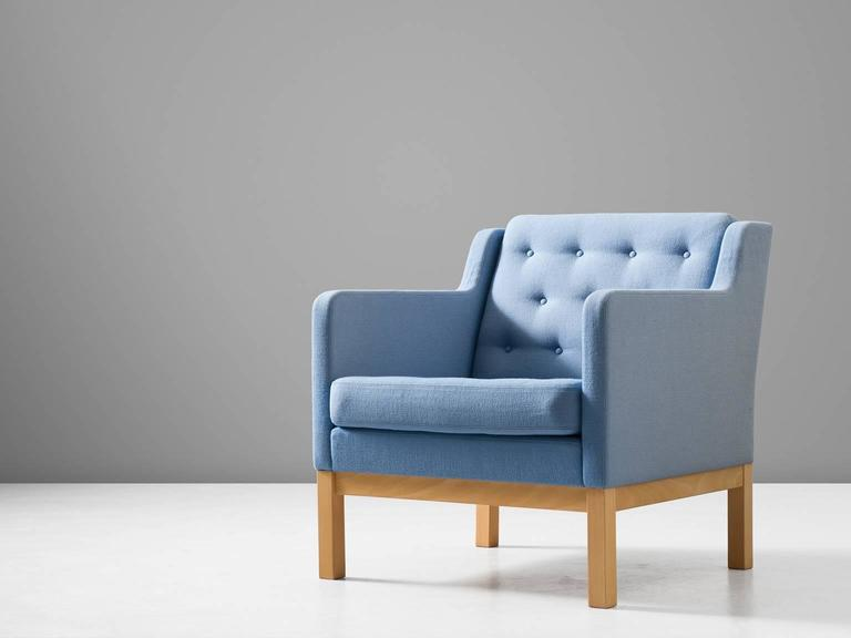 Armchair model EJ 315-1, in and fabric, by Erik Jorgensen for Erik Jørgensen Møbelfabrik, Denmark, circa 1972.