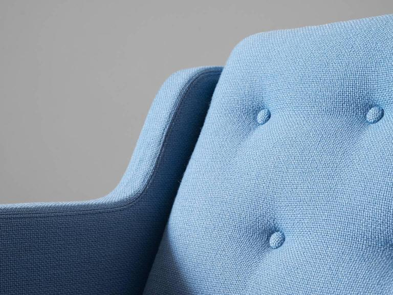 Erik Jørgensen Lounge Chair in Light Blue Fabric Upholstery In Good Condition In Waalwijk, NL
